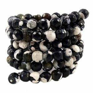 Jewelry - Black and ivory agate coil bracelet NWT